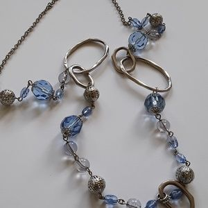 Jewelry - Blue and silver Adjustable Necklace